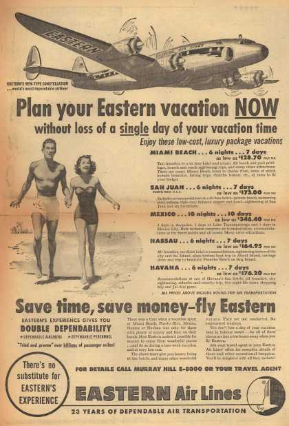 Eastern Air Lines – Plan Your Eastern Vacation Now Without a Loss of a Single Day of Your Vacation Time. (1951)