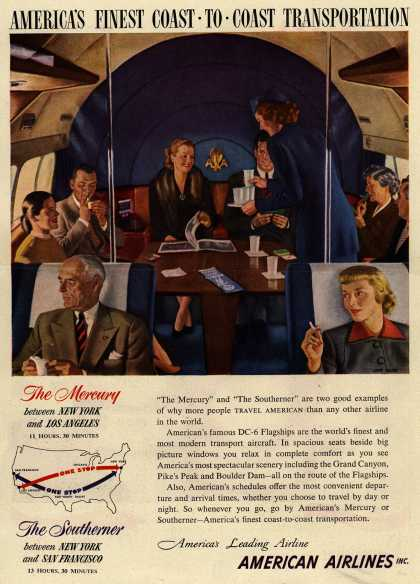 American Airline's The Mercury and The Southerner – America's Finest Coast To Coast Transportation (1950)