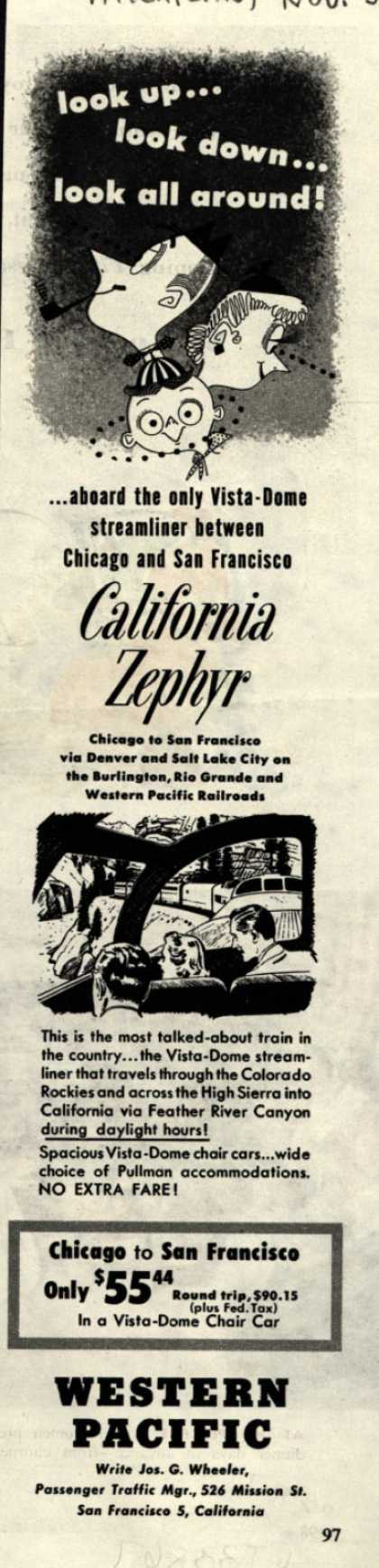 Western Pacific's California Zephyr – look up...look down...look all around (1953)