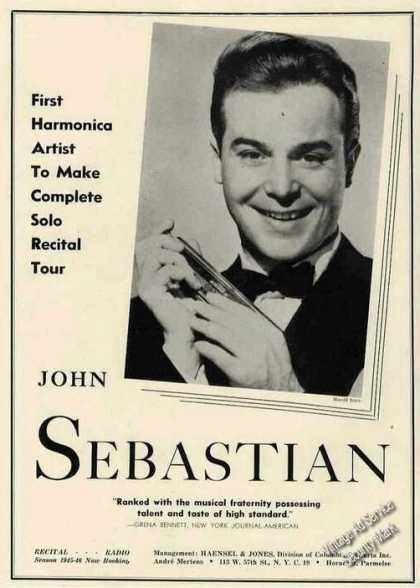 John Sebastian Photo Harmonica Artist Booking (1945)