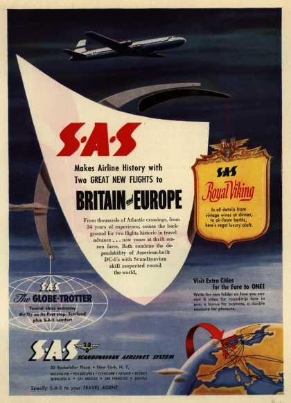 Scandinavian Airlines System's Britain and Europe – SAS Makes Airline History with Two Great New Flights to Britain and Europe (1952)