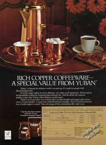 Rich Copper Coffeeware From Yuban (1976)