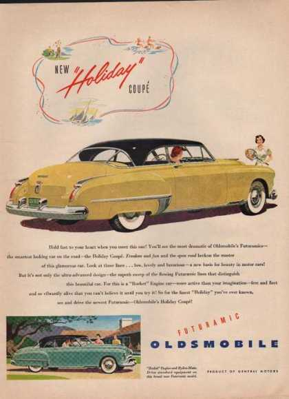 New Holiday Coupe Yellow Oldsmobile Car (1949)