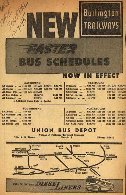 Burlington Trailway's Bus Schedules – New Faster Bus Schedules (1945)
