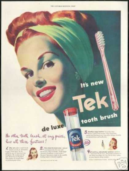 Pretty Redhead Tek Tooth Brush Art (1947)