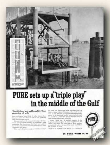 Pure Eugene Island Oil Rig Photo Triple Play (1959)