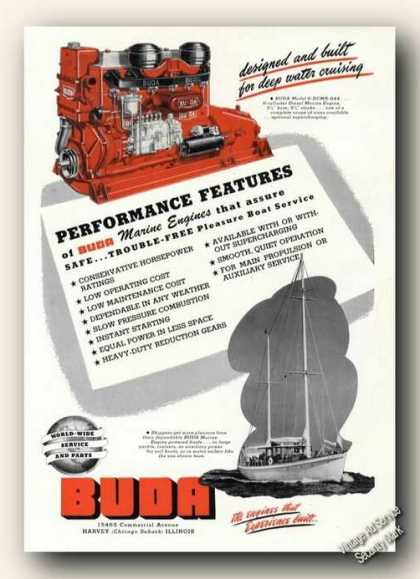 Buda Marine Engines Photos Advertising Boat (1947)