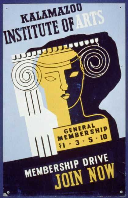 Kalamazoo Institute of Arts – membership drive – join now. (1936)