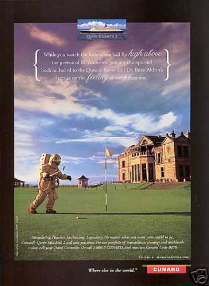 Cunard QE2 Ship Buzz Aldrin St Andrews Golf (1997)