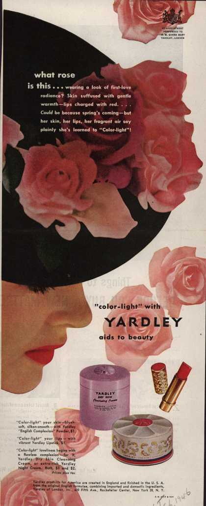 "Yardley of London's Various – What rose is this... ""Color-light"" with Yardley aids to beauty (1946)"