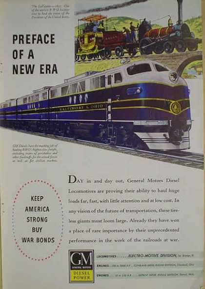 GM Diesel Power Baltimore & Ohio Rail Lines War Bonds (1941)
