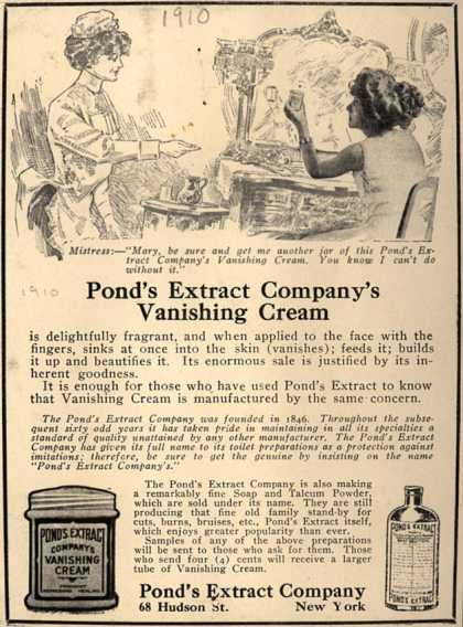 Pond's Extract Co.'s Pond's Vanishing Cream – Pond's Extract Company's Vanishing Cream (1910)