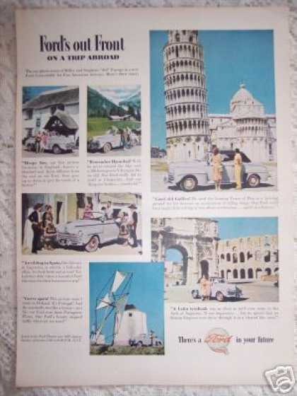 Ford Cars In Europe Tower of Pisa (1948)