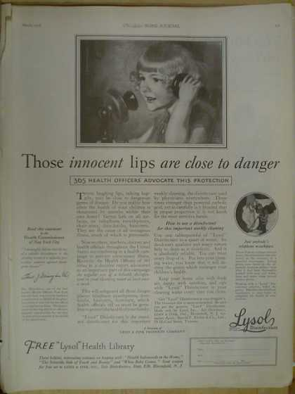 Lysol Disinfectant Innocent lips close to danger (1926)