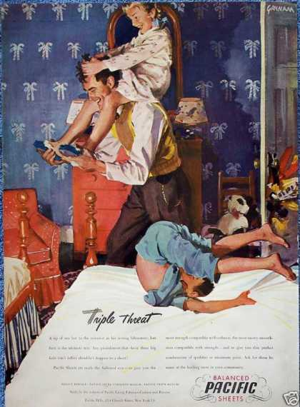 Pacific Sheets Dad Wrestling With Kids Bed Gannam (1946)