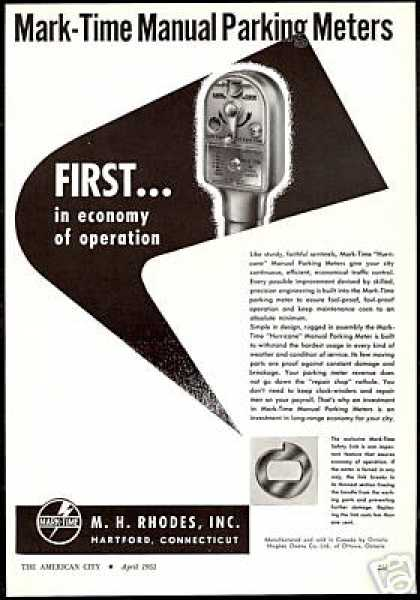 Mark Time Manual Parking Meter MH Rhodes (1951)