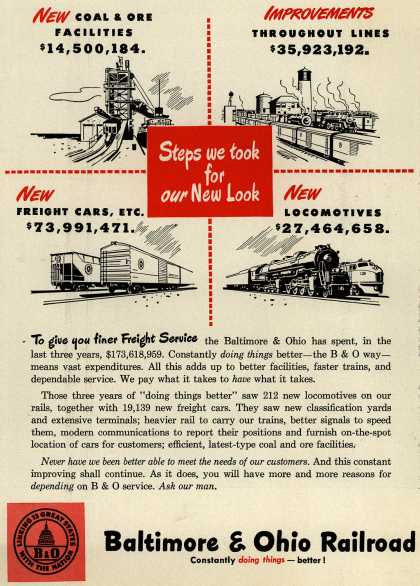 Baltimore & Ohio Railroad's improved facilities,faster trains,reliable service – Steps we took for our New Look (1948)