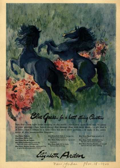 Elizabeth Arden – Blue Grass...for a heart stirring Christmas (1944)