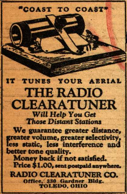 "Radio Clearatuner Co.'s Clearatuners – ""Coast to Coast"" It Tunes Your Aerial, The Radio Clearatuner (1928)"