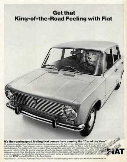 "Fiat 124 ""Car of the Year"" Lion In Front Seat (1967)"
