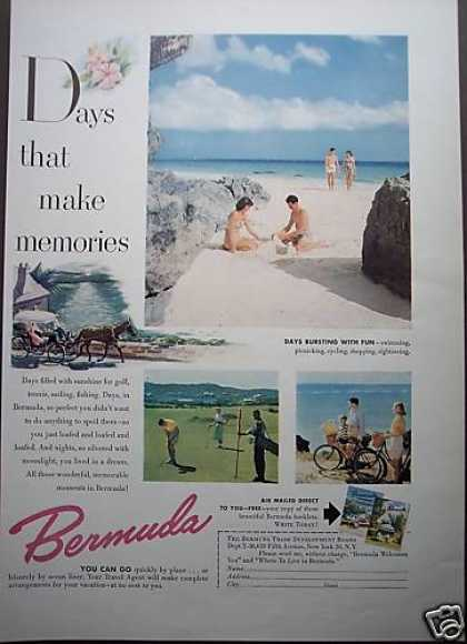 Bermuda Beach Golf Vacation Travel Photo (1953)