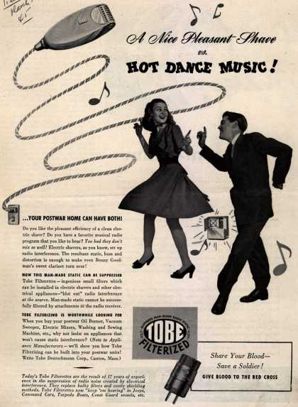 Tobe Deutschmann Corporation's Radio Noise Filter – A Nice Pleasant Shave vs. Hot Dance Music (1945)