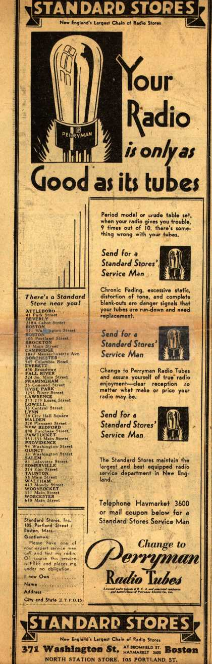 Perryman Radio Tube's Radio Tubes – Your Radio is only as Good as its tubes (1930)