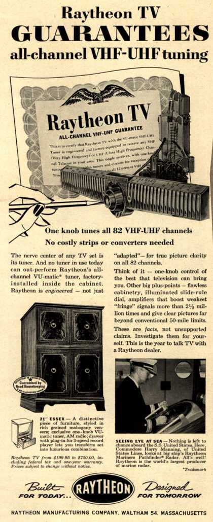 "Raytheon Manufacturing Company's 21"" Essex – Raytheon Guarantees all-channel VHF-UHF tuning (1953)"