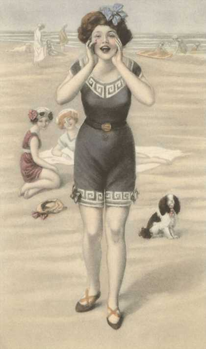 Victorian Lady Shouting on Beach