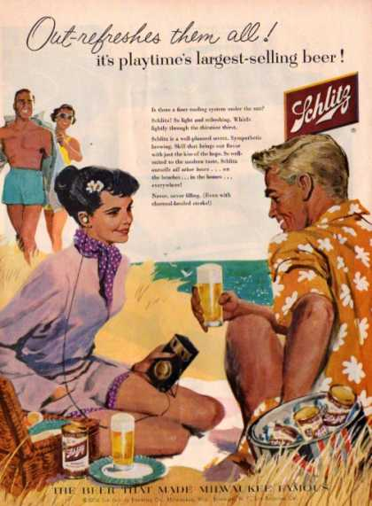 Schlitz Beer Man Pretty Woamn Beach Radio (1956)