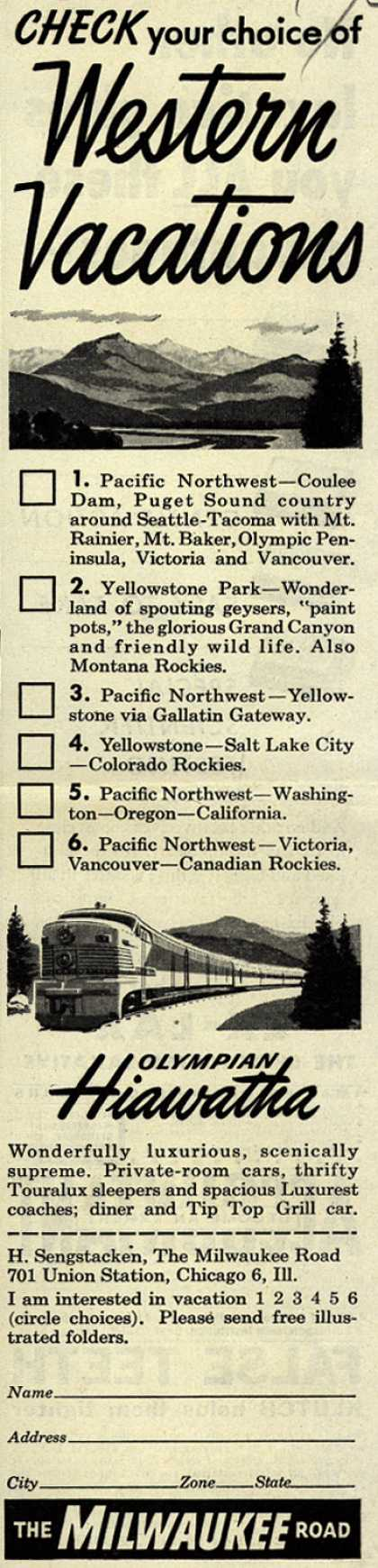 Milwaukee Road's Western vacations – Check your choice of Western Vacations (1951)