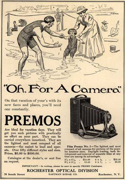 "Kodak's Premo cameras – ""Oh, For A Camera"" (1909)"