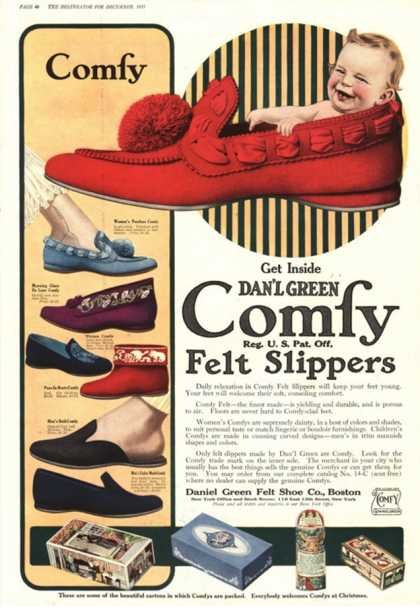 Slippers Shoes Comfy Green Dan'L Babies Baby, USA (1910)