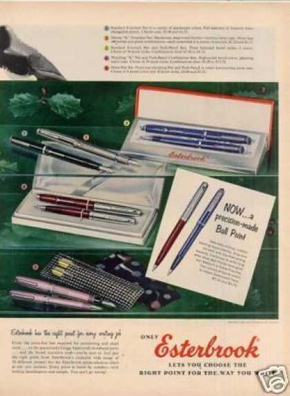 Esterbrook Fountain Pens Ad 2 Page (1956)