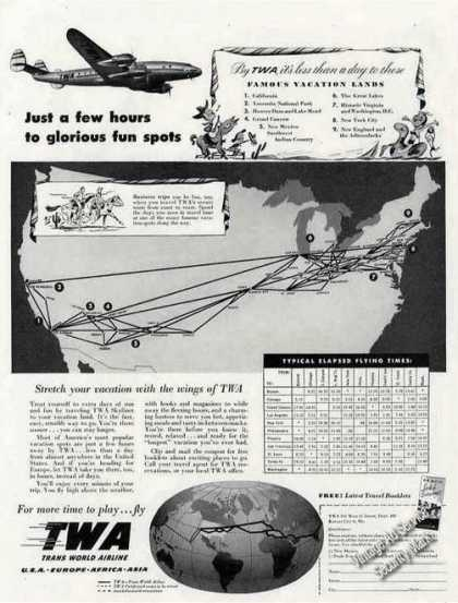 Twa Constellation Ad W/route Map & Elapsed Times (1948)