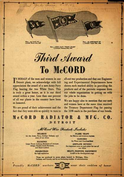 "McCord Radiator & MFG. Co.'s Navy ""E"", second Army Navy ""E"" star – Third Award To McCord (1943)"