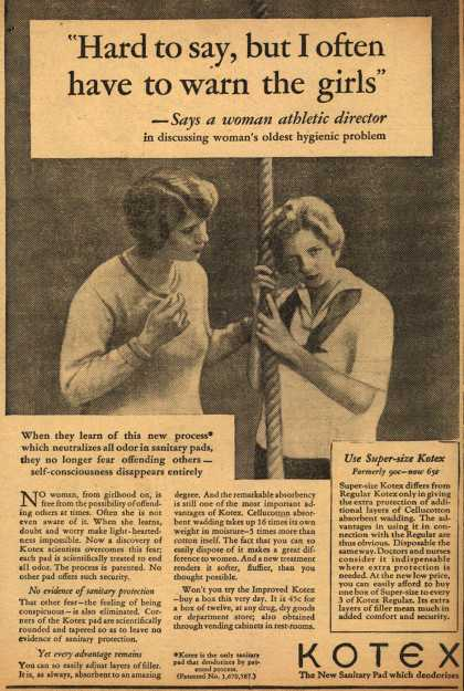"Kotex Company's Sanitary Napkins – ""Hard to say, but I often have to warn the girls"" (1929)"