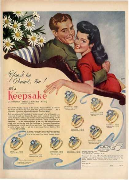 Keepsake Diamond Engagement Ring Wwii Soldier Ad T (1945)