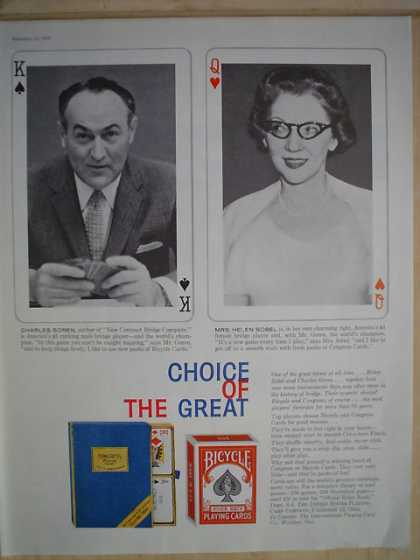 Bicycle playing cards Choice of the great Charles Goren and Helen Sobel (1958)