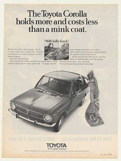 Toyota Corolla $1686 Costs Less than Mink Coat (1969)