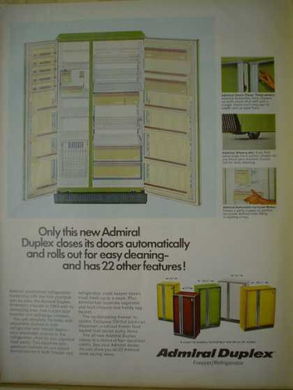 Admiral duplex refrigerator. Closes its door automatically (1969)