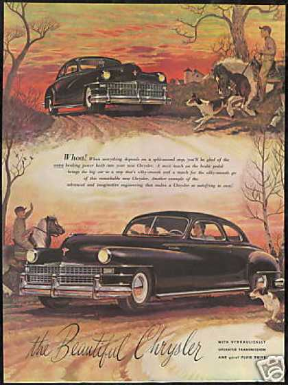 Chrysler Vintage Car John Clymer Horse Dog Art (1947)