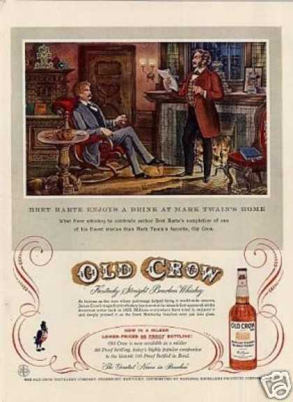 "Old Crow Bourbon Whiskey Ad ""Bret Harte... (1957)"