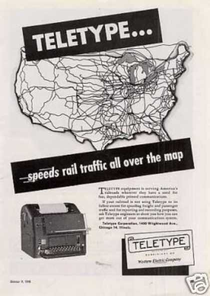Teletype Ad &quot;Speeds Rail Traffic... (1948)