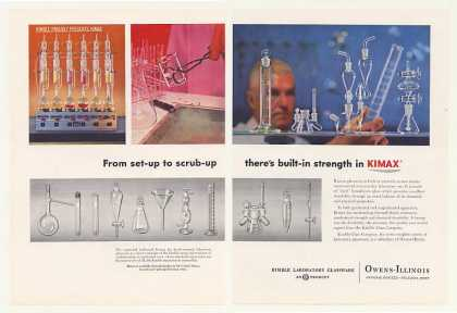 Owens-Illinois Kimble Glass Kimax Lab Glassware (1958)