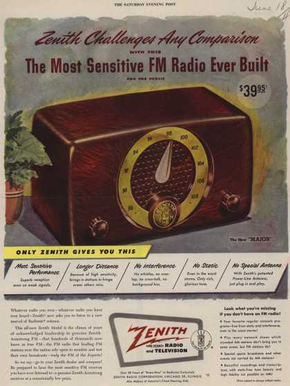 "Zenith Radio Corporation's ""Major"" model – Zenith Challenges Any Comparison with this The Most Sensitive FM Radio Ever Built for the Public (1949)"