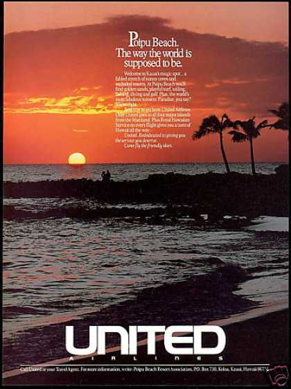 Hawaii Kauai Poipu Beach United Airlines (1988)