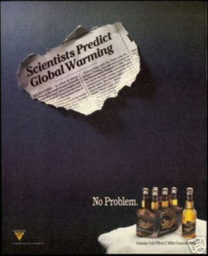 Global Warming Prediction Miller Draft Beer (1990)