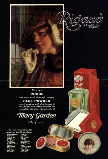 Rigaud's Mary Garden Perfume – First the Rouge and then a touch of the soft, clinging Face Powder (1920)