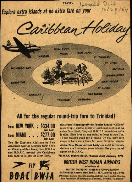 British Overseas Airways Corporation's Caribbean – Caribbean Holiday (1954)